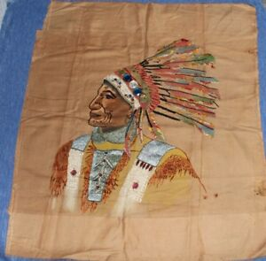 Vintage   EMBROIDERED  Hand stitched     CHIEF   Head dress      27 x 24