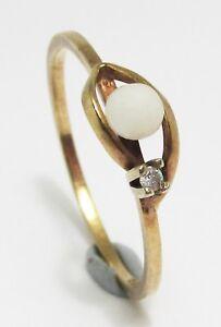 100-Genuine-Vintage-9K-Solid-Yellow-Gold-Pearl-amp-Diamond-Ring-Sz-6