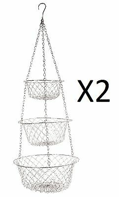 Fox Run 3 Tier Hanging Food Kitchen Storage Baskets Colors May Vary (2-Pack)