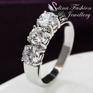 18K-White-Gold-Plated-3-x-Simulated-Diamond-0-5-Carat-Round-Cut-Silver-Ring