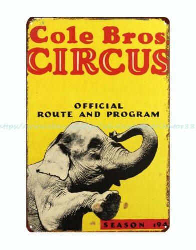 Cole Bros Circus Official Route Program Season elephant metal tin sign wall art