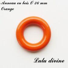 Anneau en bois de 36 mm (XS) sans trou, pour hochet bébé : Orange