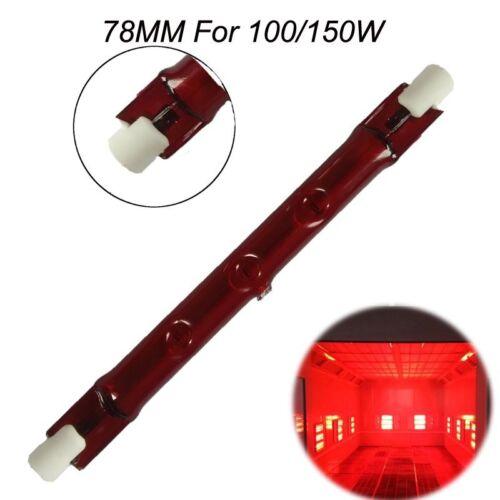 1//2Pcs100-150W 78mm R7S Halogen Quartz Ruby Infra-Red Heater Bar Tube Heat Lamp