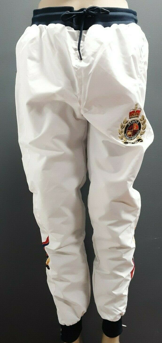 Men's Staple Pigeon Satin Sweat Pants with Patches - White Navy