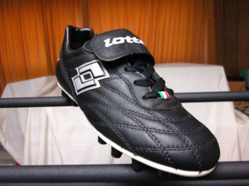 D,M Lotto Primato Youth  Soccer cleats leather Black//Silver /& White Medium