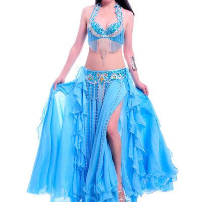 A001 Professionale Danza Del Ventre Costume 3 Pezzi Reggiseno + Cintura + Rock Belly Dance 11 Colori- Facile Da Lubrificare