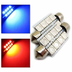 UK-2x-C5W-31-36-Era-40-42mm-Coche-Rojo-Azul-Interior-Festoon-Bombilla-LED-8-SMD