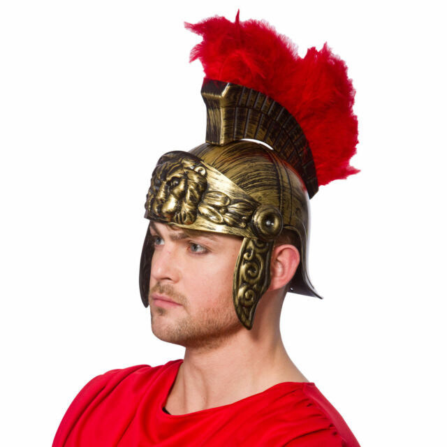 Red Plume Roman Helmet Ancient Gladiator Hat Fancy Dress Costume Fighter Headwea