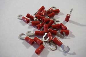 25-pack-of-red-4-0mm-hook-terminal-crimp-connector-for-4-00mm-bolt-screw