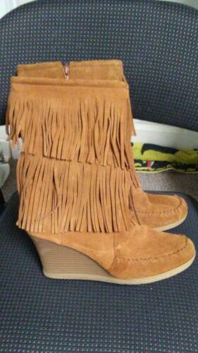 Minnetonka Fringe Wedge Boots