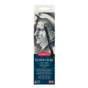 Tin of 6 Pencils DERWENT Charcoal Pencil Set Sharpener
