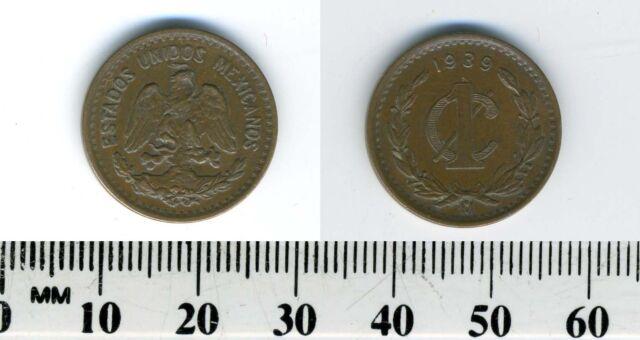 Mexico 1939 - 1 Centavo Bronze Coin - National arms