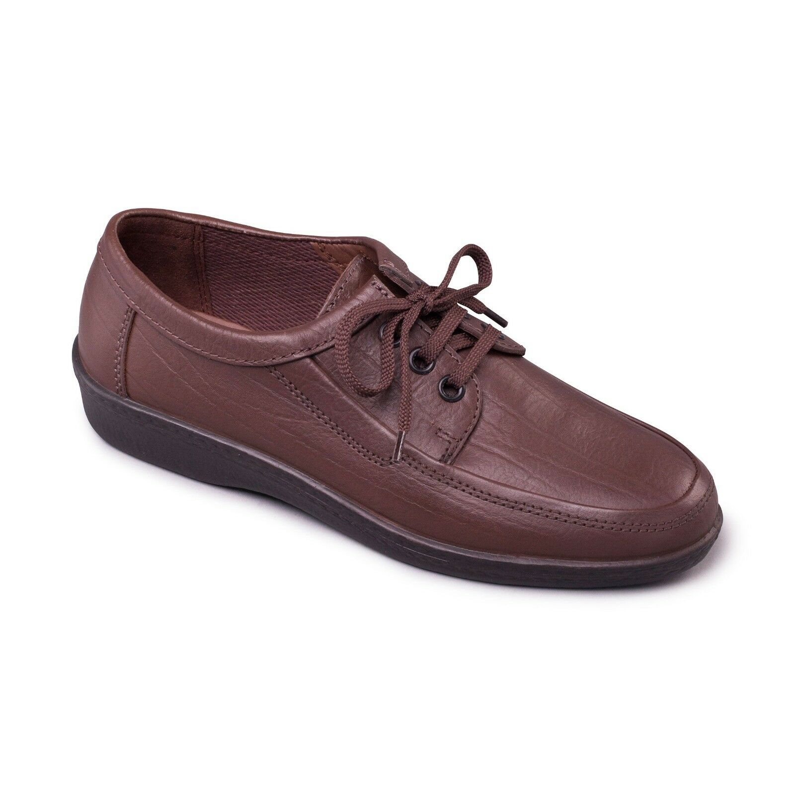 Padders Rebel Mens Soft Leather 3 Eyelet Lace-Up Tie Shoe  Comfort Casual  Brown