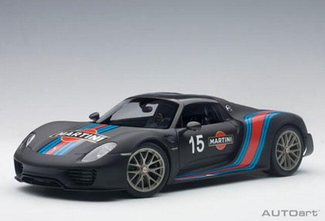 77929 Autoart 1 18 Porsche 918 Spyder visière Paquet (Noir Martini Stripe)