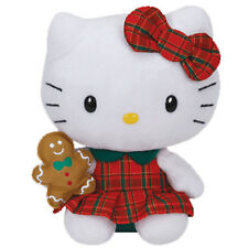 TY Beanie Baby - HELLO KITTY (Plaid Christmas Dress with Gingerbread - 6 inch)