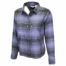 Levi's Women's Navy Blue Maple Utility Plaid Cropped L/S Flannel Shirt (S02)