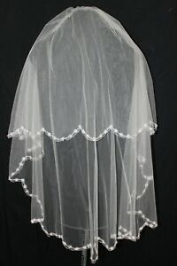 New! Light Gold double layer fingertip length bridal veil, silver and crystals