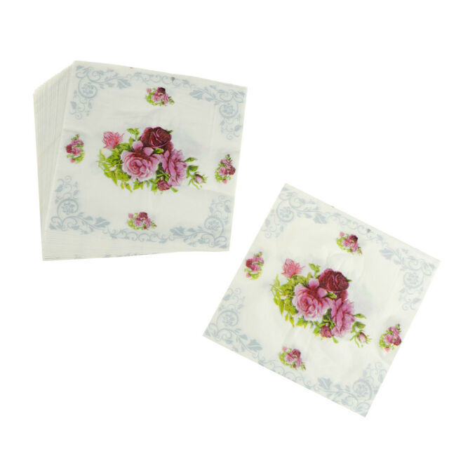 20pcs Food-grade Flower Paper Napkins Wedding Party Tissue Napkins Decoupage