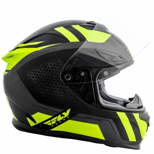 Black//Hi-Vis XS Fly Street SENTINEL Full-Face Helmet w// Sun Shield