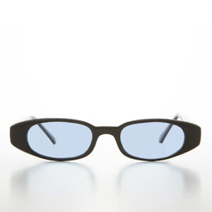 954c9272bd9 Image is loading Blue-Tinted-Lens-90s-Oval-Sleek-Sunglass-Cancun