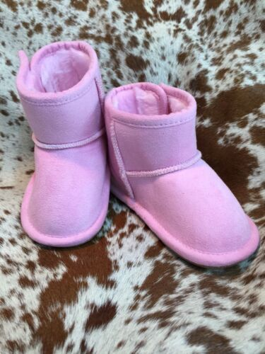 Pink Baby Infant Boots Booties Fleece Lined Rubber Sole Warm NEW Various Sizes