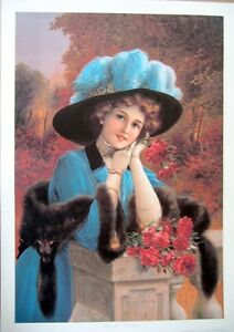 art-print-CARNATION-LADY-Victorian-Woman-with-Blue-Feather-Hat-fur-vtg-rep-17x24