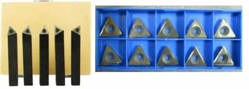 """5-Piece 3//4/"""" Indexable Carbide Tool Bit Sets C6 With 10pcs more inserts"""