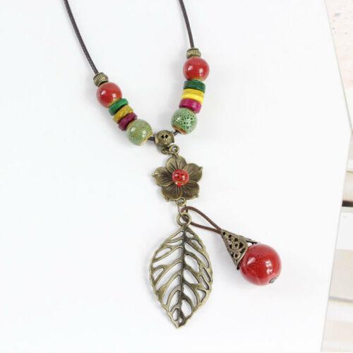 Retro ethnic style ceramic bead Pendant sweater chain necklace N329