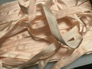 """Vintage Lingerie Pink 1930s Rayon Silk 3/8"""" Ribbon 1yd Made in France"""