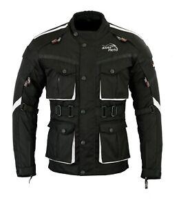 New-Mens-Black-Motorcycle-Waterproof-Cordura-Textile-Jacket-Motorbike-CE-Armours