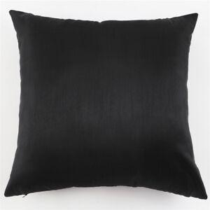 Black-Silk-Like-Plain-Throw-Pillow-Case-Decor-Home-Bed-Cushion-Cover-18-034-45cm