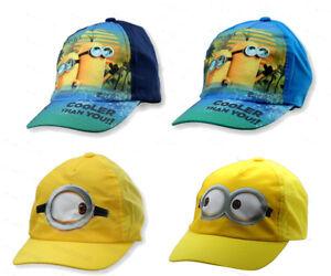 dbea0fc5b1a Boys Despicable Me Minion Baseball Hat Childrens Sun Peak Summer Cap ...