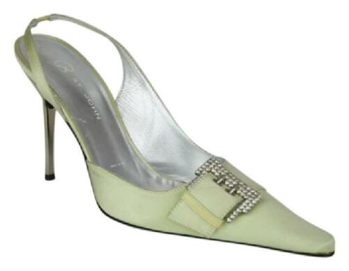 ST. JOHN PALE GREEN SILK SATIN SHOES, RHINESTONE B