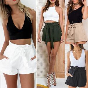 Pantaloncini-Hot-Estate-Moda-Larga-Shorts-Fiocco-Spiaggia-Vita-Alta-Pantaloni