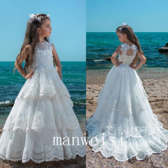 Elegant Flower Girl Dress Ivory Lace Applique Sleeveless Floor Length Princess