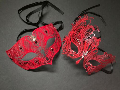 Clear Crystal Rhinestone Blue /& Red Pair couple metal eye mask Theme Party prom