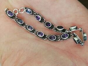 Ancien-bracelet-femme-en-argent-massif-et-amethyste