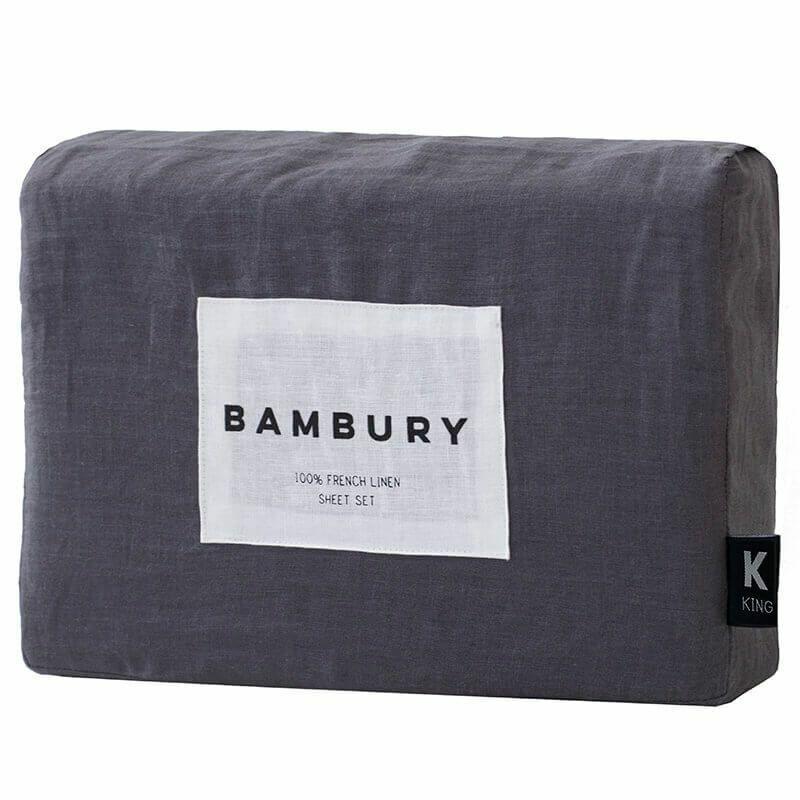 Bambury French Linen Sheet Set Fitted Sheet Depth 50cm Charcoal