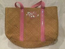 Roxy Woven Straw Beach Pool Bag Tote Beige Pink Sequins