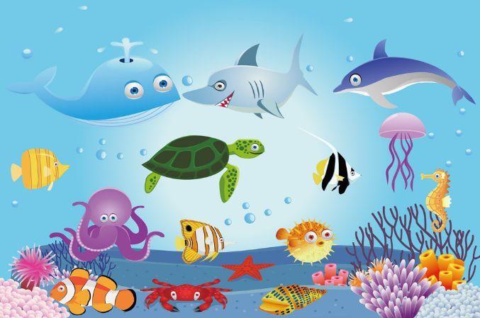 3D Cartoon Ocean Animals Paper Wall Print Decal Wall Wall Murals AJ WALLPAPER GB