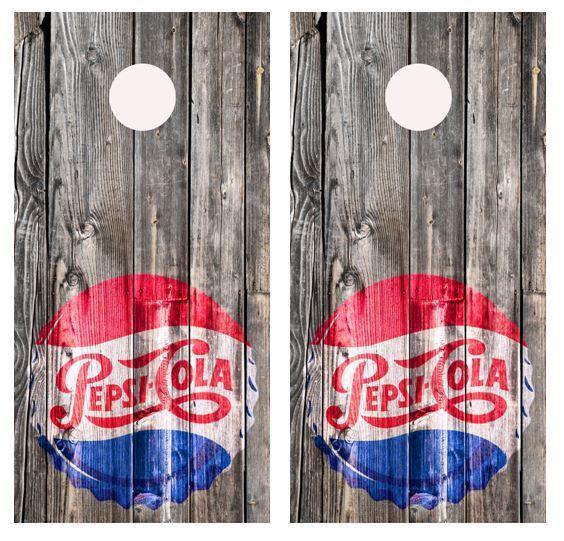 1950's Pepsi Barnwood Cornhole Board Game Wraps w FREE APPLICATION SQUEEGEE