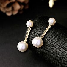 Boucles d`Oreilles CLIP ON Doré Deux Perle Class Retro Vintage Mariage B10