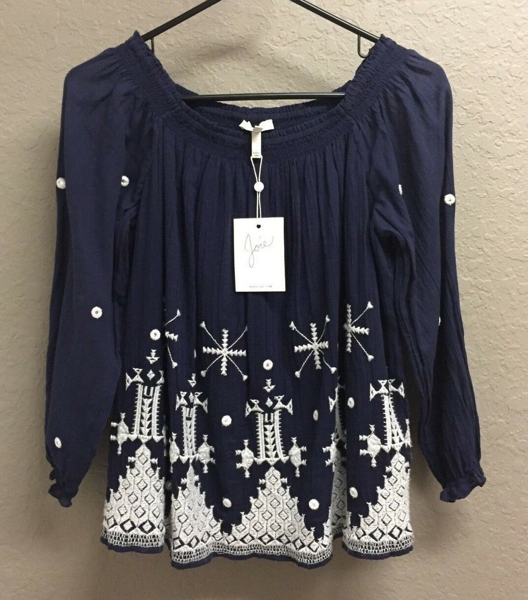 NWT  JOIE Kristine Off-Shoulder Embroiderot Blouse Navy Weiß Größe Small