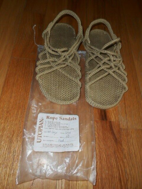 Handmade IN THE USA Utopian Rope Sandals MENS BEIGE AND BROWN ALL SIZES