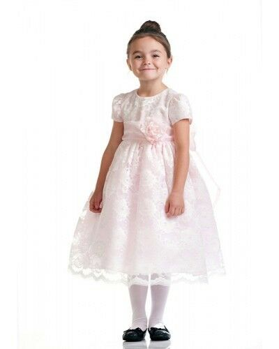 Stunning Ivory Lace/Pink Satin Christening Flower Girl Dress w/ Flower USA