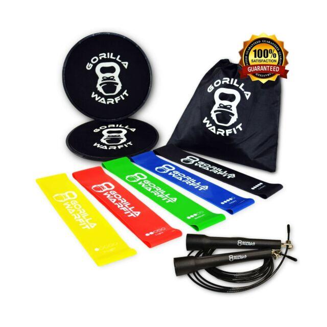 80 Day Obsession Equipment Resistance Loop Bands /& Exercise Sliders Set W Bonus