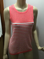 BNWT Womens Sz XL/16 Mix Brand Blush Pink/White Knit Mesh Yoke Sleeveless Top
