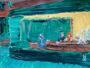 Nighthawks-Diner-American-Abstract-Realism-Palette-Knife-Art-Original-Painting