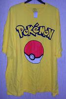 Mens Pokemon Pokeball Bright Yellow Novelty T-shirt Size 4xl