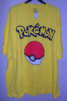 Mens Pokemon Pokeball Bright Yellow Novelty T-shirt Size 4xl